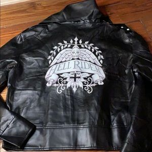 Hell Rider faux leader black leather jacket
